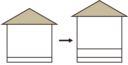 高さ調整(建物のカサ上げ工事) イメージ